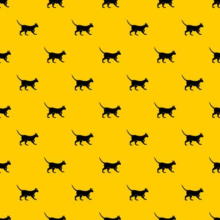 Cat pattern seamless vector repeat geometric yellow for any design Illustration