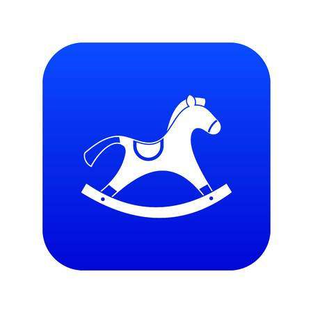 Rocking horse icon digital blue for any design isolated on white vector illustration