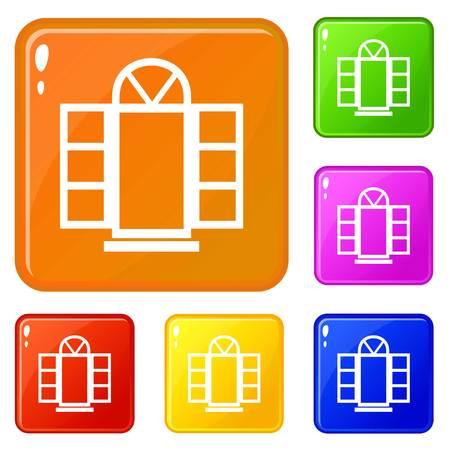 Open narrow window frame icons set vector color