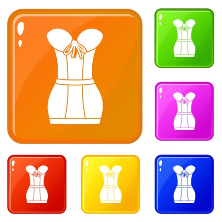 Retro corset icons set collection vector 6 color isolated on white background Illustration