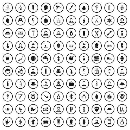 100 barber icons set in simple style for any design vector illustration Vettoriali