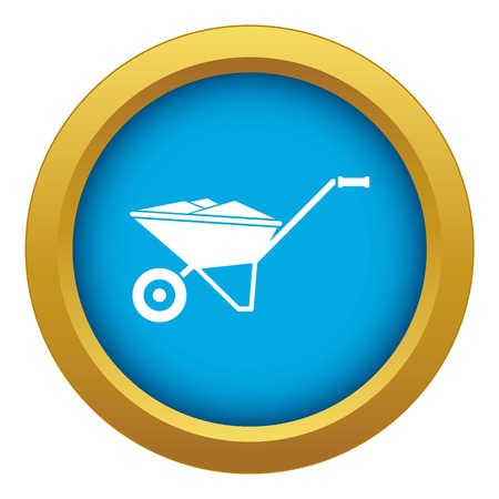 Wheelbarrow icon blue vector isolated on white background for any design