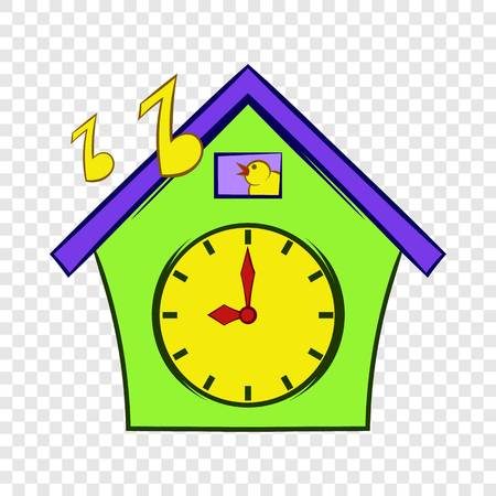 Cuckoo clock icon in cartoon style on a background for any web design