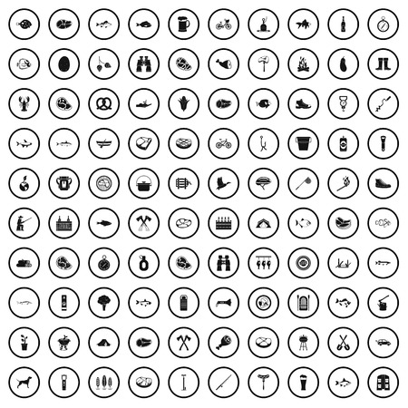 100 BBQ icons set in simple style for any design vector illustration
