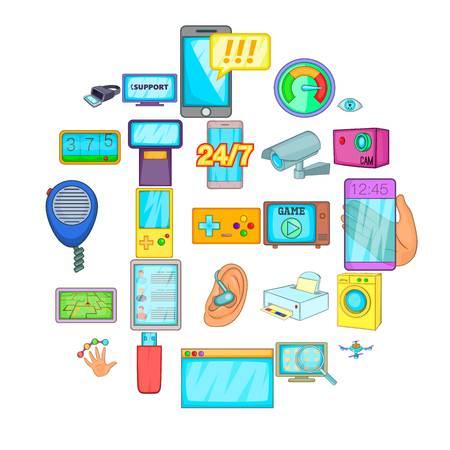 Correggi il set di icone dell'elettronica. Cartoon set di 25 fissa le icone vettoriali di elettronica per il web isolato su sfondo bianco Vettoriali