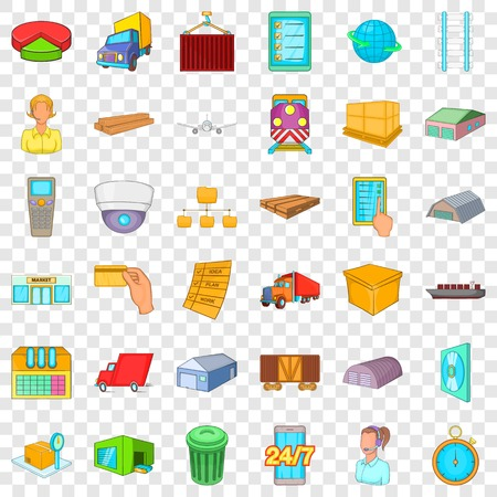 Big warehouse icons set, cartoon style