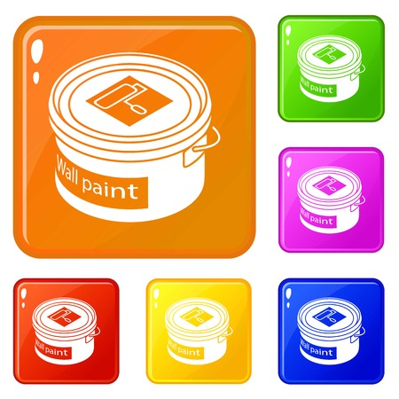 Wall paint bucket icons set collection vector 6 color isolated on white background Illustration