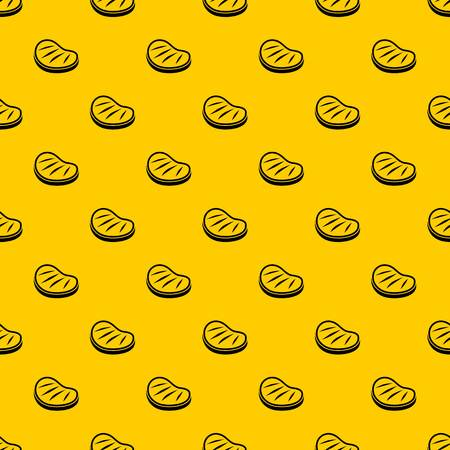 Beef steak pattern seamless vector repeat geometric yellow for any design