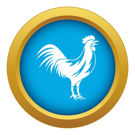 Gallic rooster icon blue vector isolated