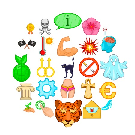 Representation icons set, cartoon style