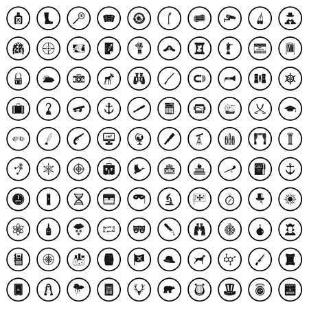 100 binoculars icons set in simple style for any design vector illustration