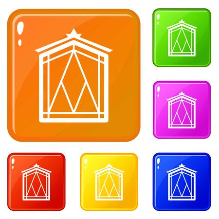 Fairy window frame icons set vector color