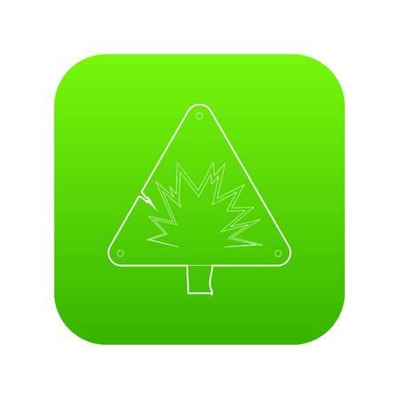 Danger sign icon green vector isolated on white background Ilustração