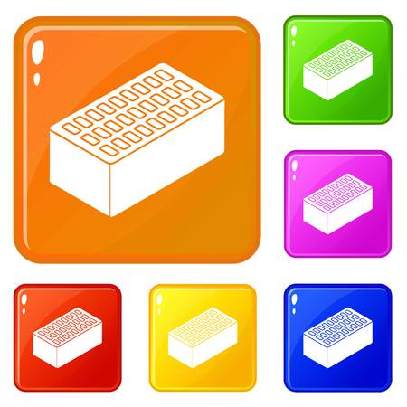 Brick icons set collection vector 6 color isolated on white background Иллюстрация