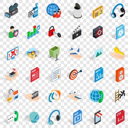 Web marketing icons set, isometric style