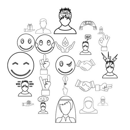 Sensation icons set. Outline set of 25 sensation vector icons for web isolated on white background