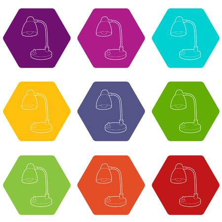 Table lamp icons 9 set coloful isolated on white for web Illustration