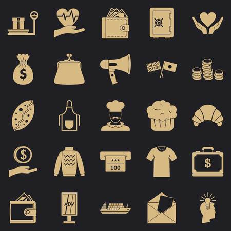 Alms icons set. Simple set of 25 welfare vector icons for web for any design