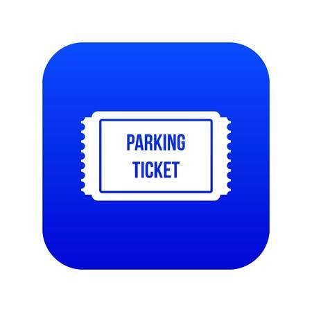 Biglietto di parcheggio icona blu digitale