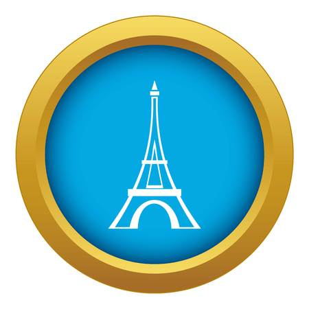 Eiffel tower icon blue vector isolated