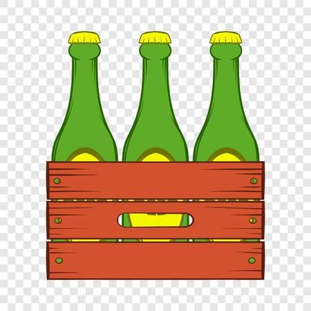 Icône de boîte en bois de bière dans le style de dessin animé sur un fond pour toute conception de sites Web Vecteurs