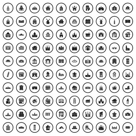 100 building icons set, simple style