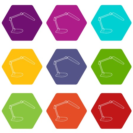 Electric table lamp icons 9 set coloful isolated on white for web Illustration