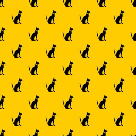 Egyptian cat pattern seamless vector repeat geometric yellow for any design