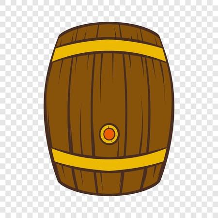 Wooden barrel of beer icon, cartoon style Illustration