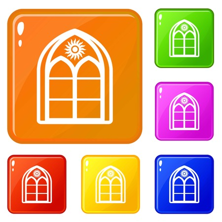 Oriental window frame icons set vector color
