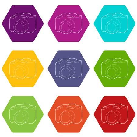 SLR camera icons set 9 vector