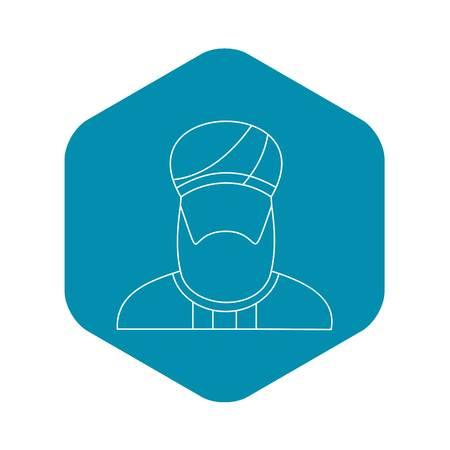 Arabian man in a turban icon, outline style 일러스트