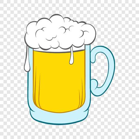 Beer mug icon in cartoon style