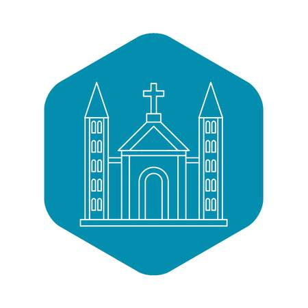 Catholic church building icon, outline style Vectores