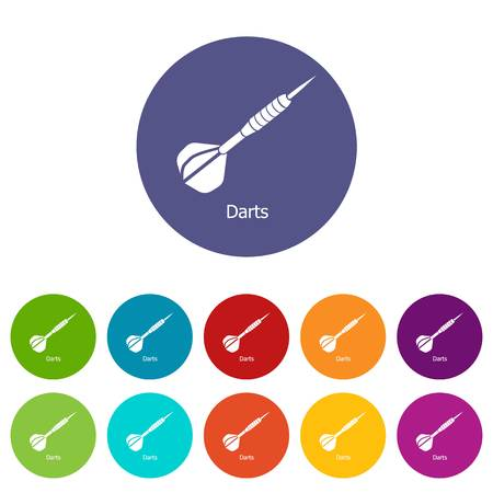 Darts icons color set vector for any web design on white background