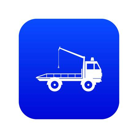 Car towing truck icon digital blue for any design isolated on white vector illustration Illustration