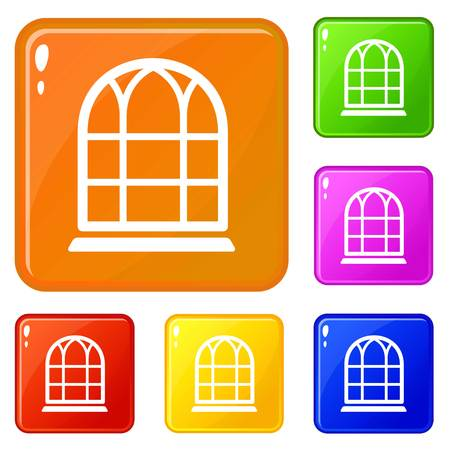 Big window frame icons set vector color  イラスト・ベクター素材