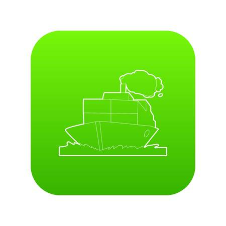 Ship icon green vector