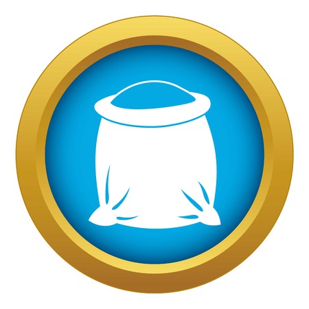 Sack full of flour icon blue vector isolated on white background for any design
