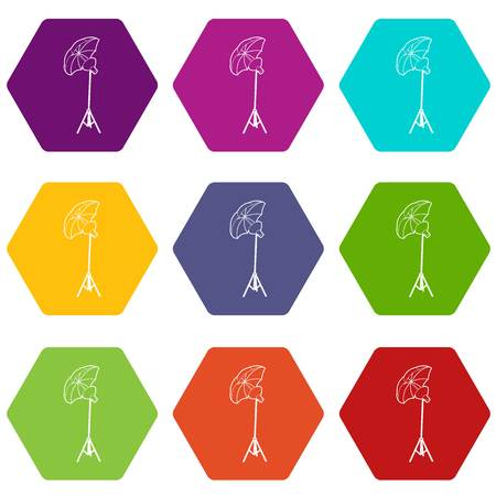 Octobox icons 9 set coloful isolated on white for web