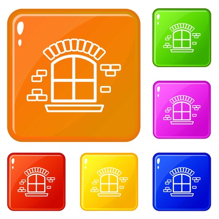 Small window frame icons set collection vector 6 color isolated on white background  イラスト・ベクター素材
