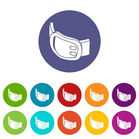 Double buckle belt icons color set vector for any web design on white background