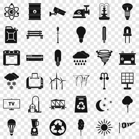 Windmill village icons set, simple style
