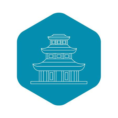 Buddhist temple icon, outline style
