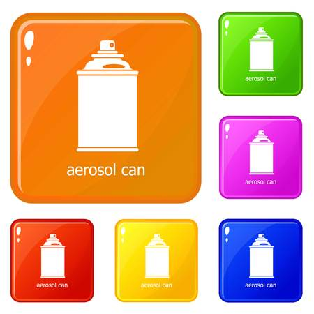 Aerosol can icons set collection vector 6 color isolated on white background
