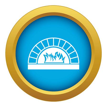 Pizza oven with fire icon blue vector isolated on white background for any design Vector Illustratie