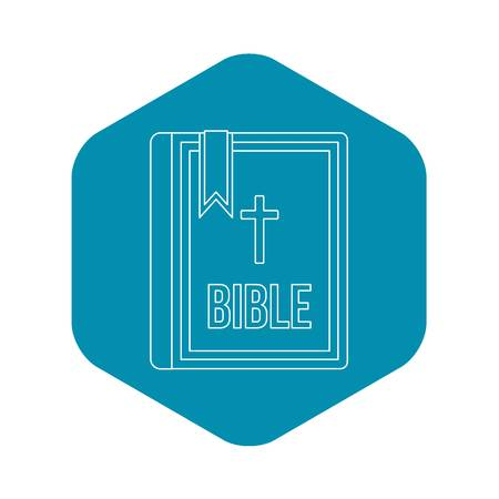 Bible icon in outline style Illustration