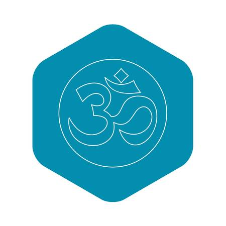 Om sign icon, outline style Illustration