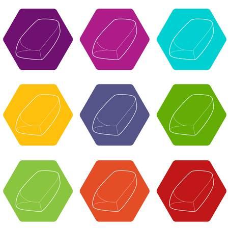Eraser icons set 9 vector