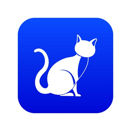 Black cat icon digital blue for any design isolated on white vector illustration